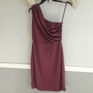 The limited, cranberry off the shoulder dress, xs